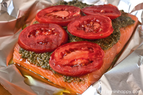 Foil-Grilled Salmon with Pesto and Tomatoes ...get the #recipe at www.paninihappy.com (c) Kathy Strahs