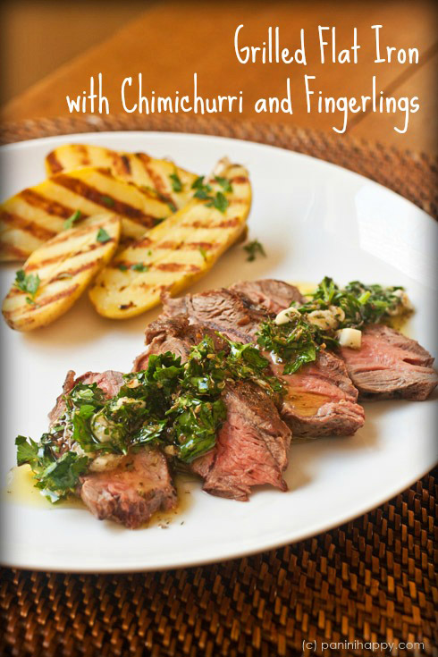 this Grilled Flat Iron Steak with Chimichurri and Fingerling Potatoes ...