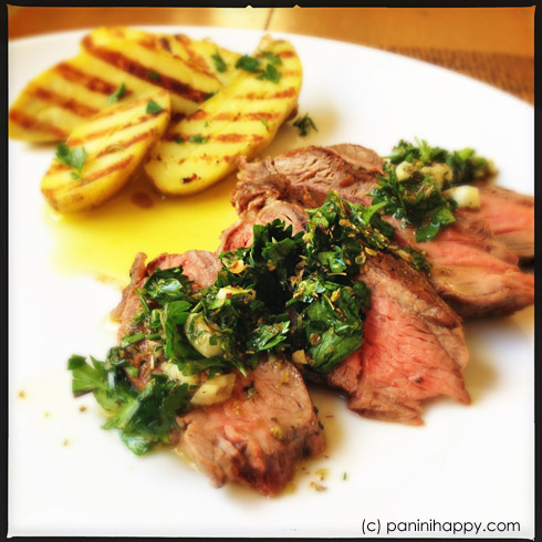 : Grilled Flat Iron Steak with Chimichurri and Fingerling Potatoes ...