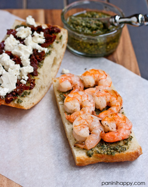 Post image for Greek Shrimp Panini with Pesto, Feta, and Sun-Dried Tomatoes