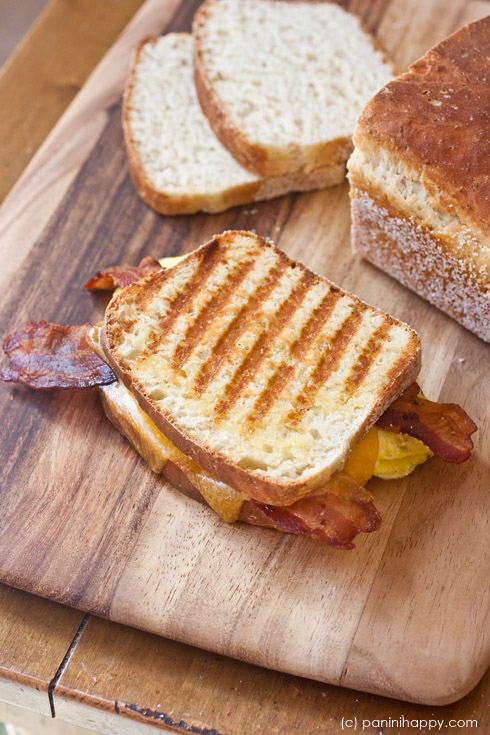 Post image for Bacon, Egg and Cheddar English Muffin Panini