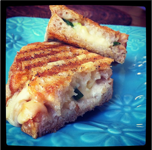 Sweet Corn Grilled Cheese with Smoked Gouda, Scallions and Chile Butter