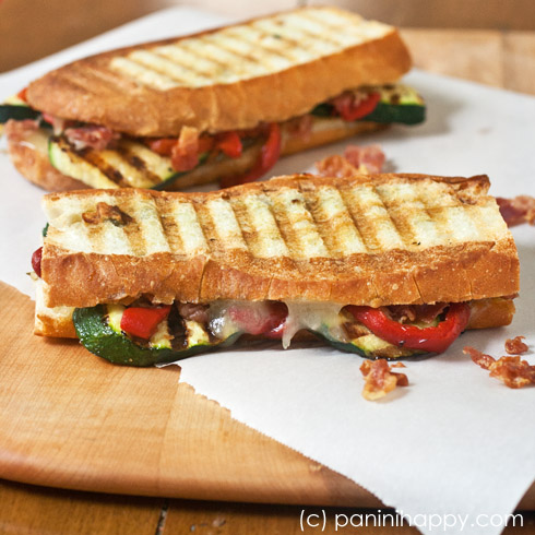 Grilled Zucchini, Crispy Prosciutto and Red Pepper Panini