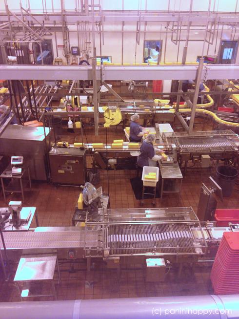 Packaging cheese at the Tillamook factory