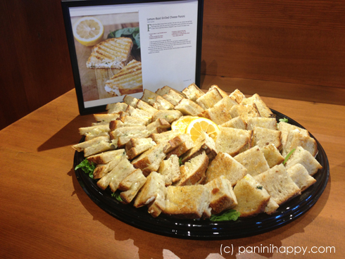 Lemon-Basil Grilled Cheese Panini, served at my cookbook launch party at Whole Foods in September