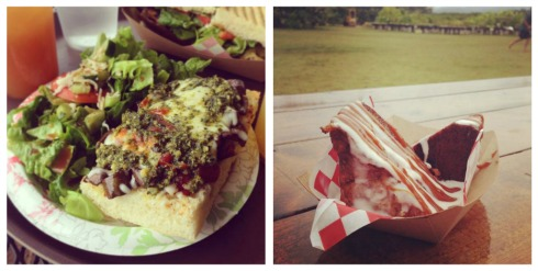 Pizza and grilled banana bread from Kahuku Farms