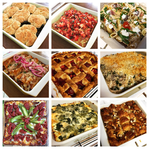 "Top Row: Blueberry Cobbler with Cornmeal Cream Biscuits, Fluffy Baked Omelet with Pico de Gallo, Chunky Ratatouille Goat Cheese Pasta; Middle Row: ""Shortcut"" Chicken Enchiladas, Deep Dish Strawberry Lattice Pie, Kale, Mushroom and Onion Gratin; Bottom Row: Detroit-Style Deep Dish Pizza, Spinach-Pesto Lasagna, Croissant Bread Pudding with Espresso Butterscotch Sauce (sauce not pictured)"